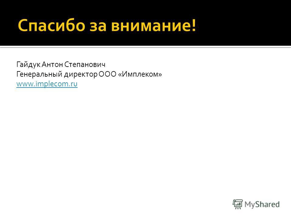 Гайдук Антон Степанович Генеральный директор ООО «Имплеком» www.implecom.ru