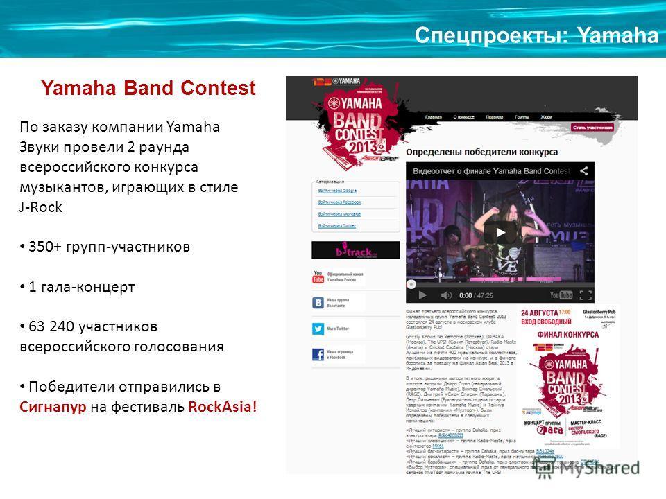 Спецпроекты: Yamaha Yamaha Band Contest По заказу компании Yamaha Звуки провели 2 раунда всероссийского конкурса музыкантов, играющих в стиле J-Rock 350+ групп-участников 1 гала-концерт 63 240 участников всероссийского голосования Победители отправил