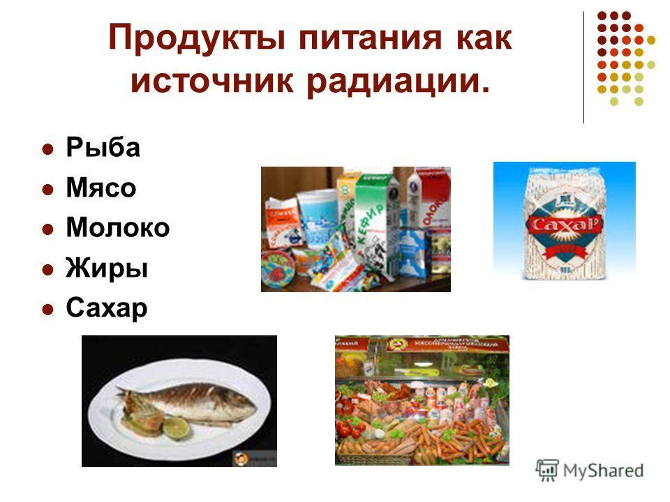 Продукты питания как источник радиации. Рыба Мясо Молоко Жиры Сахар