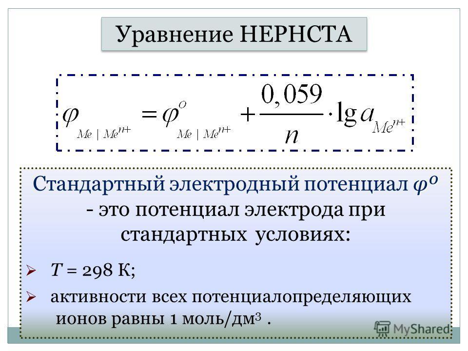 Уравнение НЕРНСТА φº Стандартный электродный потенциал φº - это потенциал электрода при стандартных условиях: Т = 298 К; активности всех потенциалопределяющих ионов равны 1 моль/дм 3.