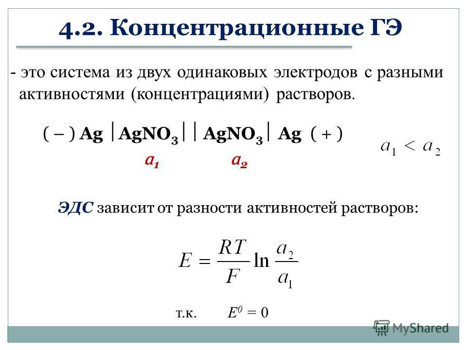 4.2. Концентрационные ГЭ ( – ) Ag AgNO 3 AgNO 3 Ag ( + ) ɑ 1 ɑ 2 - это система из двух одинаковых электродов с разными активностями (концентрациями) растворов. ЭДС зависит от разности активностей растворов: т.к. Е 0 = 0