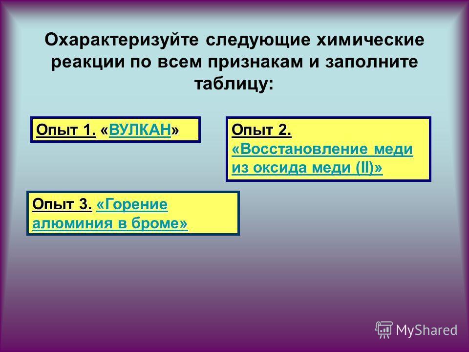 Охарактеризуйте следующие химические реакции по всем признакам и заполните таблицу: Опыт 1. «ВУЛКАН» ВУЛКАН Опыт 2. «Восстановление меди из оксида меди (II)» «Восстановление меди из оксида меди (II)» «Восстановление меди из оксида меди (II)» Опыт 3.