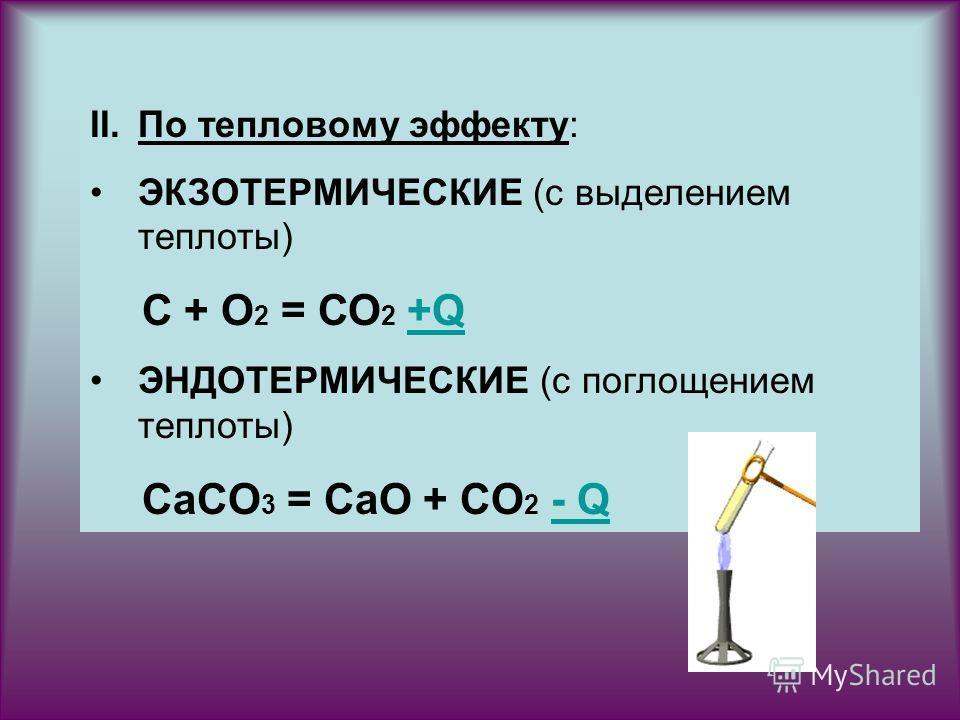 II.По тепловому эффекту: ЭКЗОТЕРМИЧЕСКИЕ (с выделением теплоты) С + О 2 = СО 2 +Q+Q ЭНДОТЕРМИЧЕСКИЕ (с поглощением теплоты) CaCO 3 = CaO + CO 2 - Q- Q