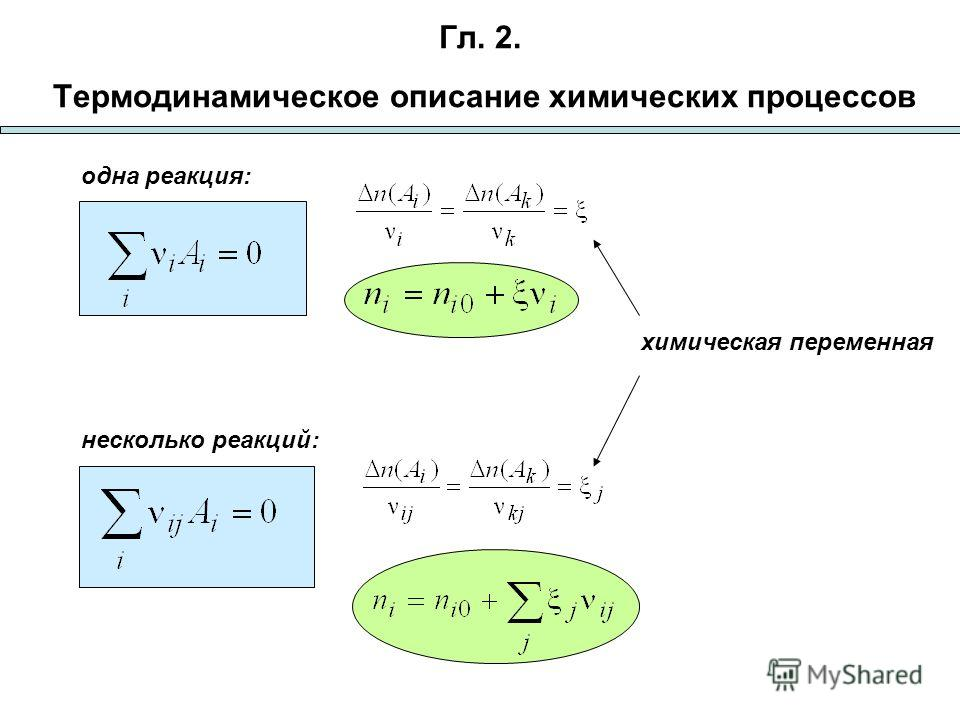 Гл. 2. Термодинамическое описание химических процессов химическая переменная несколько реакций: одна реакция: