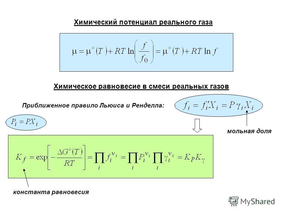 Химический потенциал реального газа Химическое равновесие в смеси реальных газов Приближенное правило Льюиса и Ренделла: мольная доля константа равновесия