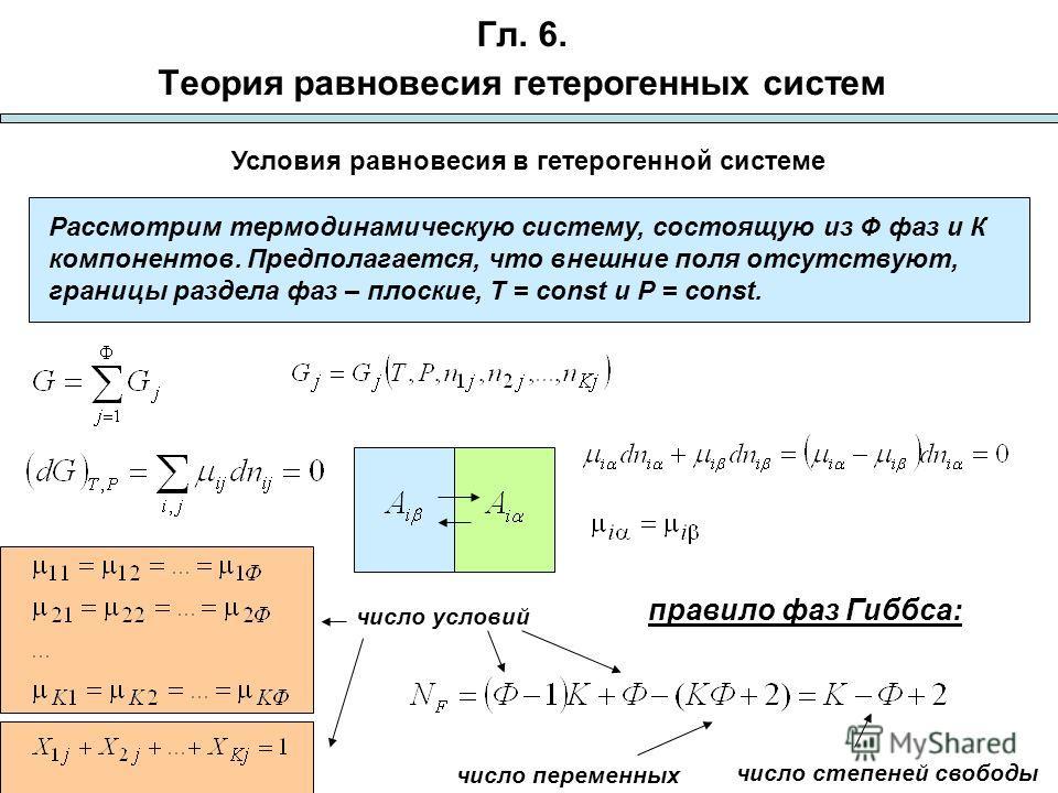 Гл. 6. Теория равновесия гетерогенных систем Рассмотрим термодинамическую систему, состоящую из Ф фаз и К компонентов. Предполагается, что внешние поля отсутствуют, границы раздела фаз – плоские, T = const и P = const. Условия равновесия в гетерогенн
