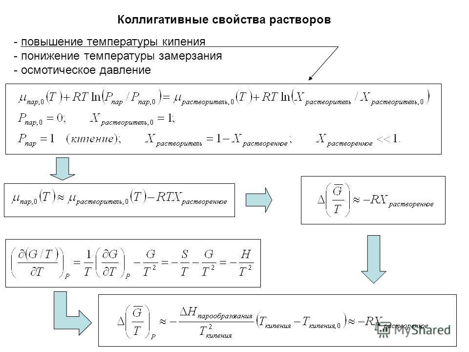 Коллигативные свойства растворов - повышение температуры кипения - понижение температуры замерзания - осмотическое давление