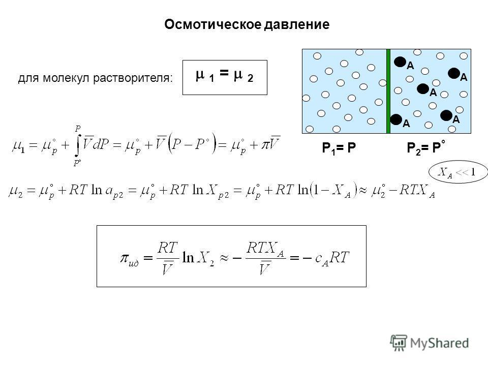 Осмотическое давление P 1 = P P 2 = P ° 1 = 2 для молекул растворителя: А А А А А