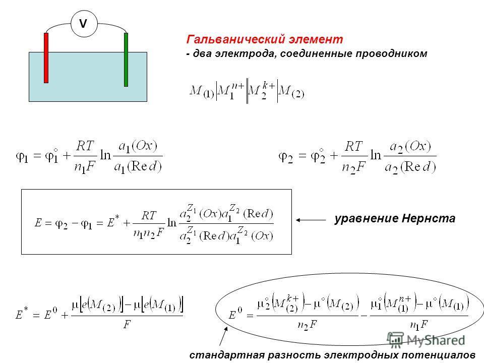 стандартная разность электродных потенциалов уравнение Нернста V Гальванический элемент - два электрода, соединенные проводником