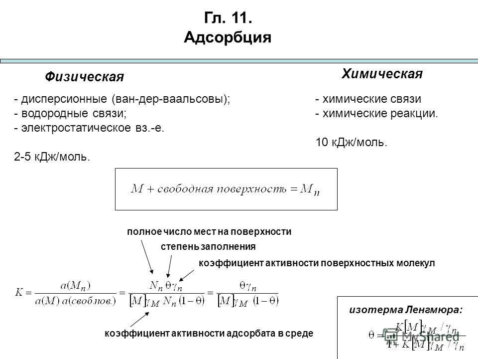 Гл. 11. Адсорбция Физическая Химическая - дисперсионные (ван-дер-ваальсовы); - водородные связи; - электростатическое вз.-е. 2-5 к Дж/моль. - химические связи - химические реакции. 10 к Дж/моль. изотерма Ленгмюра: полное число мест на поверхности сте