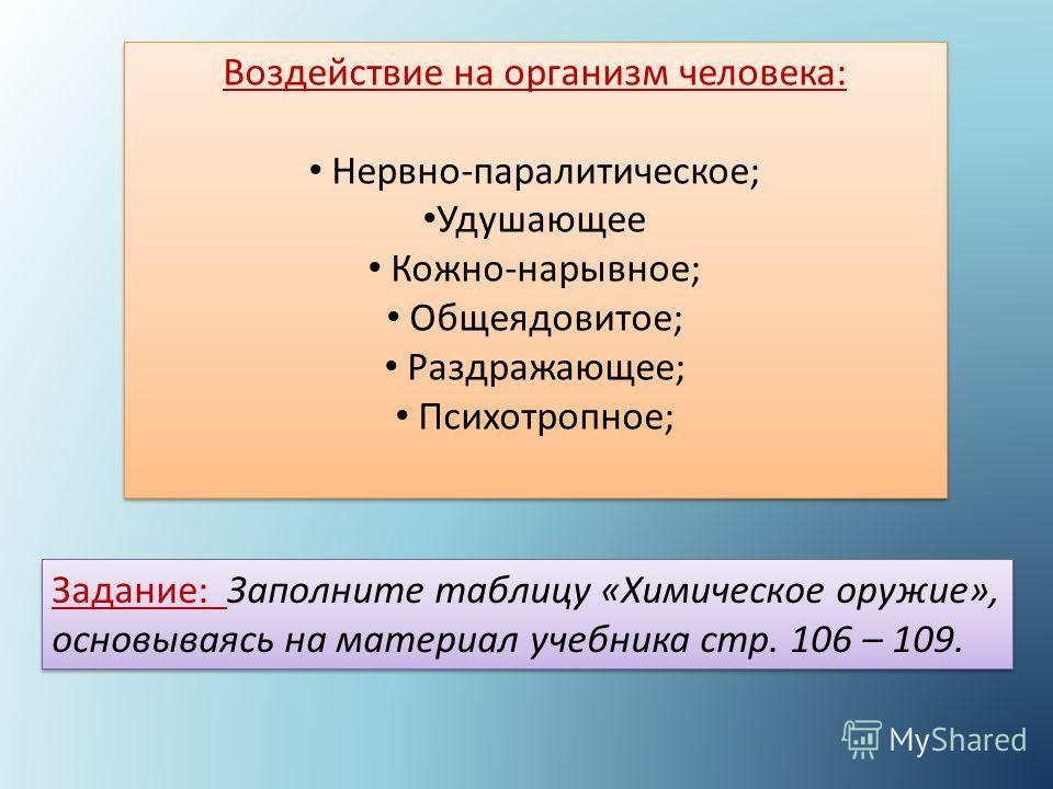 Воздействие на организм человека: Нервно-паралитическое; Удушающее Кожно-нарывное; Общеядовитое; Раздражающее; Психотропное; Воздействие на организм человека: Нервно-паралитическое; Удушающее Кожно-нарывное; Общеядовитое; Раздражающее; Психотропное;