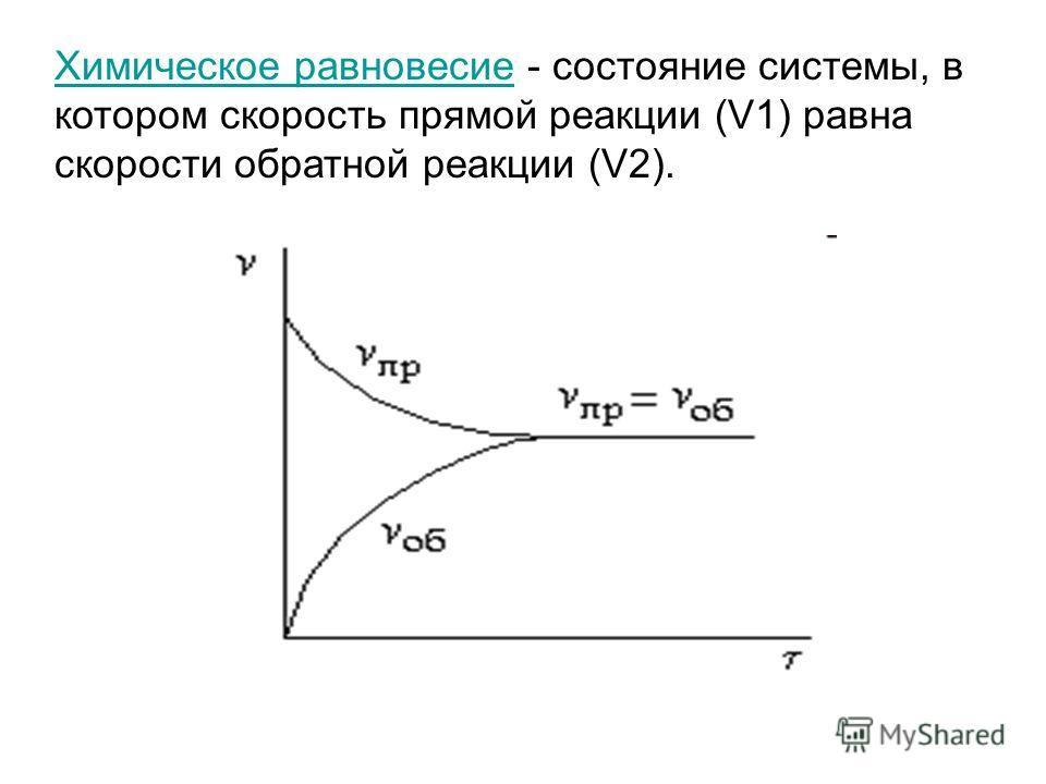 Химическое равновесие - состояние системы, в котором скорость прямой реакции (V1) равна скорости обратной реакции (V2).