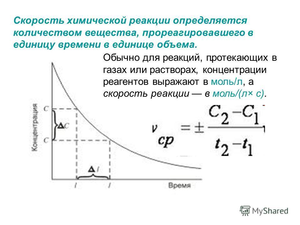 Скорость химической реакции определяется количеством вещества, прореагировавшего в единицу времени в единице объема. Обычно для реакций, протекающих в газах или растворах, концентрации реагентов выражают в моль/л, а скорость реакции в моль/(л× с).
