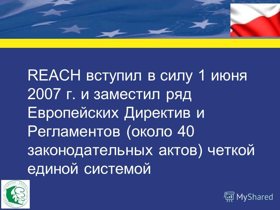 REACH вступил в силу 1 июня 2007 г. и заместил ряд Европейских Директив и Регламентов (около 40 законодательных актов) четкой единой системой