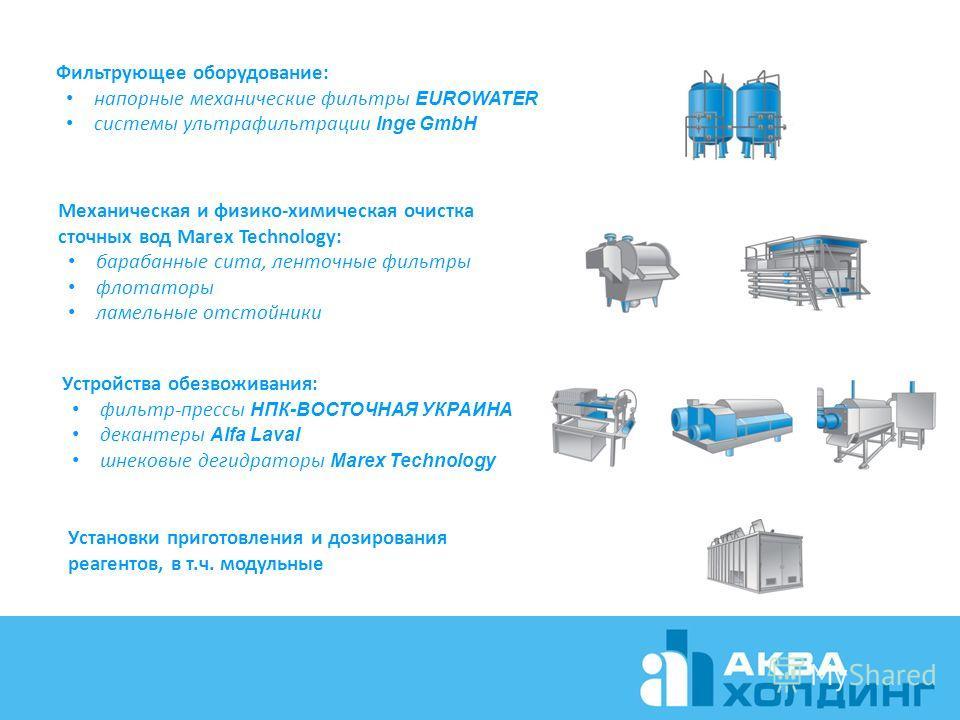 Механическая и физико-химическая очистка сточных вод Marex Technology: барабанные сита, ленточные фильтры флотаторы ламельные отстойники Установки приготовления и дозирования реагентов, в т.ч. модульные Устройства обезвоживания: фильтр-прессы НПК-ВОС