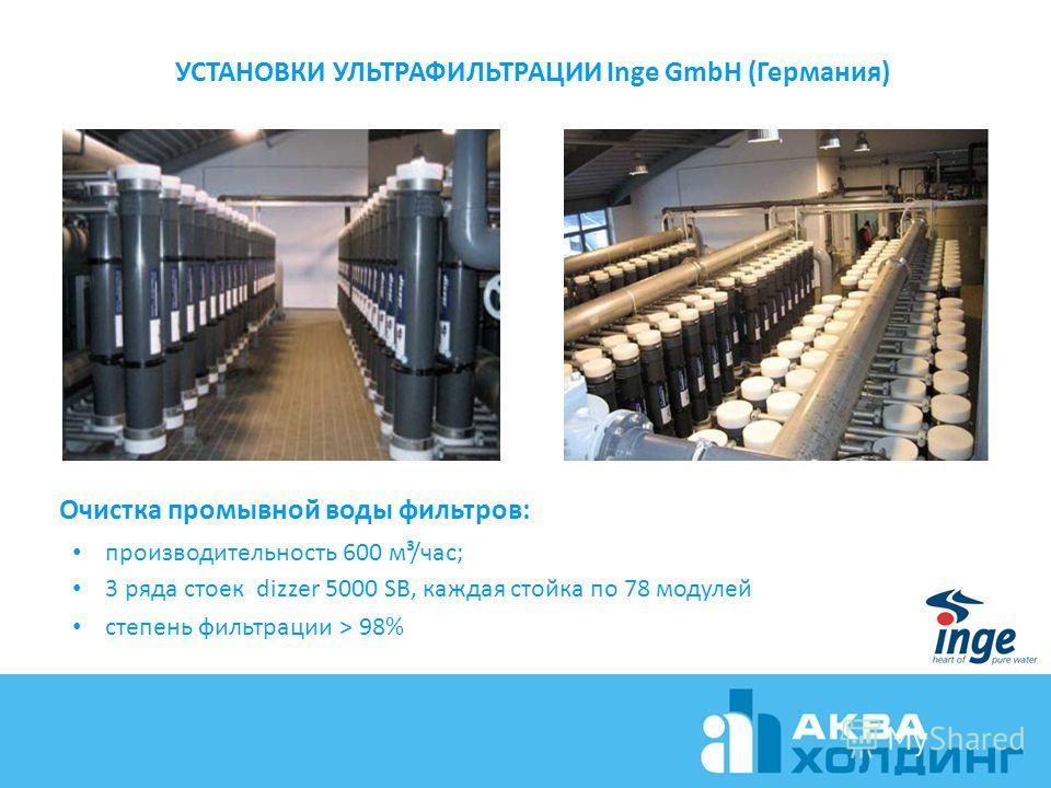 УСТАНОВКИ УЛЬТРАФИЛЬТРАЦИИ Inge GmbH (Германия) Очистка промывной воды фильтров: производительность 600 м³/час; 3 ряда стоек dizzer 5000 SB, каждая стойка по 78 модулей степень фильтрации > 98%
