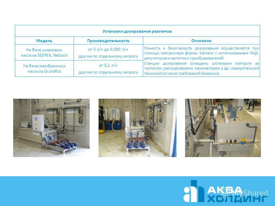 Установки дозирования реагентов Модель Производительность Описание На базе шнековых насосов SEEPEX, Netzsch от 5 л/ч до 6.000 л/ч другие по отдельному запросу Точность и безопасность дозирования осуществляется при помощи контроллера фирмы Siemens с и