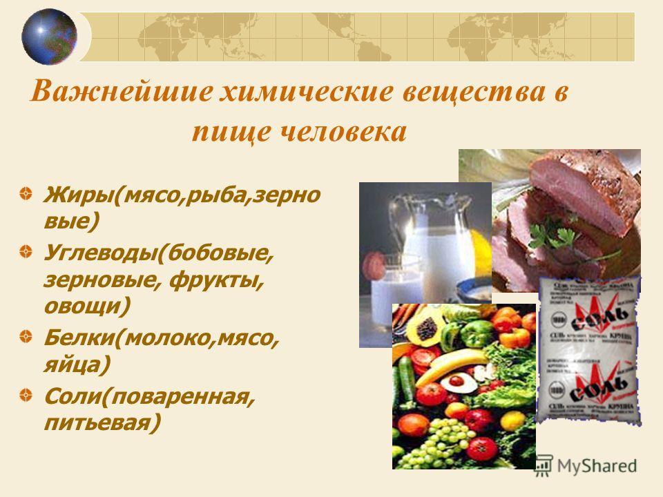 Важнейшие химические вещества в пище человека Жиры(мясо,рыба,зерно вые) Углеводы(бобовые, зерновые, фрукты, овощи) Белки(молоко,мясо, яйца) Соли(поваренная, питьевая)