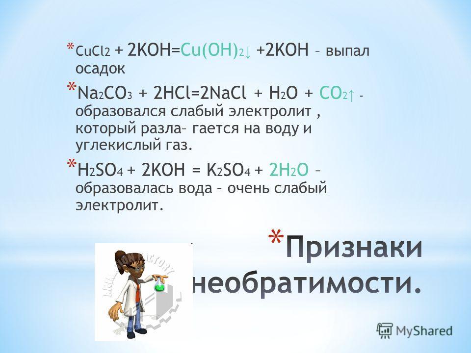 *C*C uCl 2 + 2KOH=Cu(OH) 2 +2KOH – выпал осадок *N*N a 2 CO 3 + 2HCl=2NaCl + H 2 O + CO 2 – образовался слабый электролит, который разлагается на воду и углекислый газ. *H*H 2 SO 4 + 2KOH = K 2 SO 4 + 2H 2 O – образовалась вода – очень слабый электро