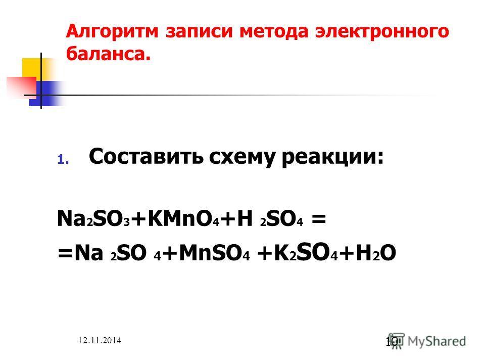 12.11.2014 10 Алгоритм записи метода электронного баланса. 1. Составить схему реакции: Na 2 SO 3 +KMnO 4 +H 2 SO 4 = =Na 2 SO 4 +MnSO 4 +K 2 SO 4 +H 2 O