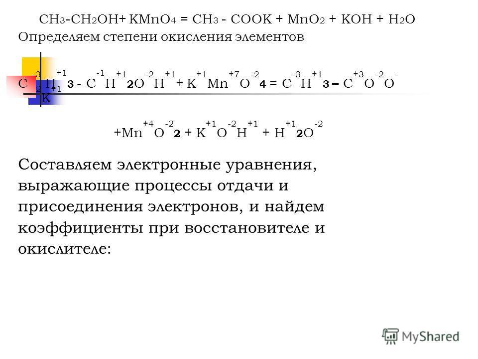 CH 3 -CH 2 OH+ KMnO 4 = CH 3 - COOK + MnO 2 + KOH + H 2 O Определяем степени окисления элементов C -3 H +1 3 - C -1 H +1 2 O -2 H +1 + K +1 Mn +7 O -2 4 = C -3 H +1 3 – C +3 O -2 O - 2 K +1 +Mn +4 O -2 2 + K +1 O -2 H +1 + H +1 2 O -2 Составляем элек