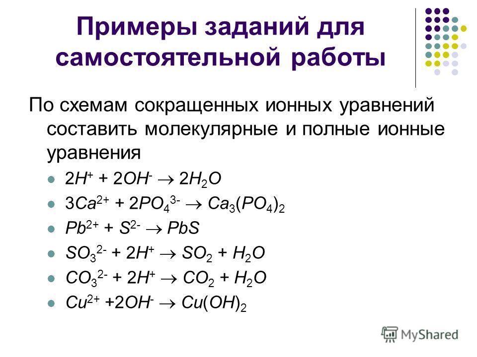 Примеры заданий для самостоятельной работы По схемам сокращенных ионных уравнений составить молекулярные и полные ионные уравнения 2H + + 2OH - 2H 2 O 3Ca 2+ + 2PO 4 3- Ca 3 (PO 4 ) 2 Pb 2+ + S 2- PbS SO 3 2- + 2H + SO 2 + H 2 O CO 3 2- + 2H + CO 2 +