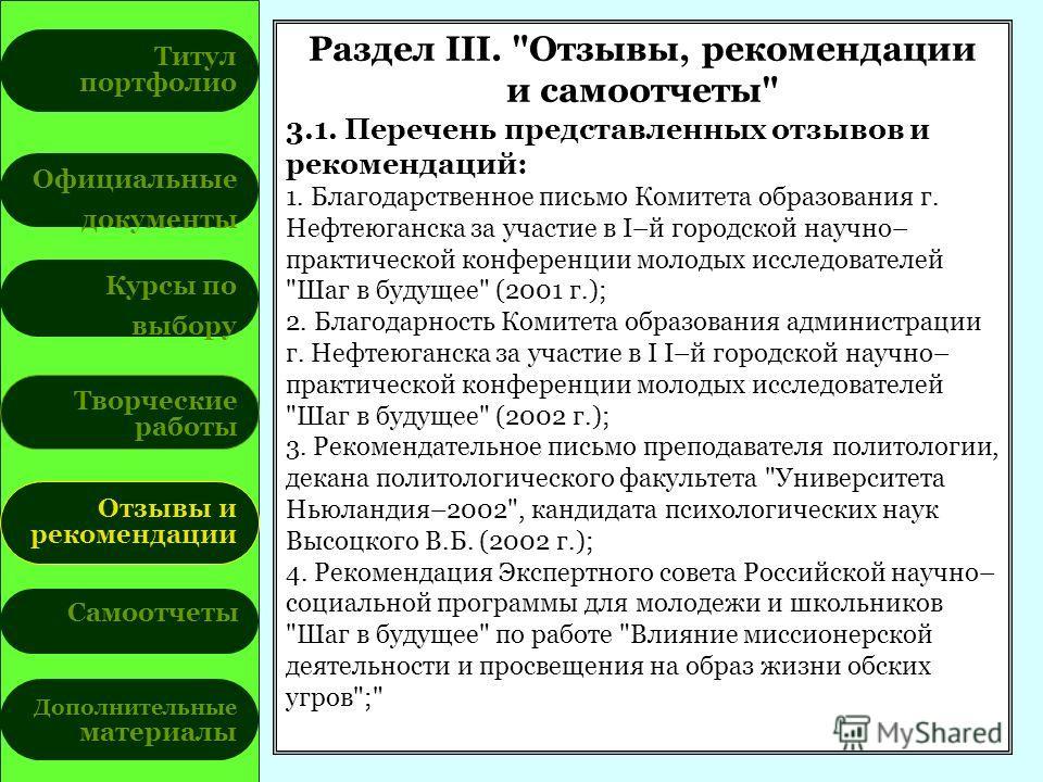 Титул портфолио Официальные документы Курсы по выбору Творческие работы Отзывы и рекомендации Самоотчеты Дополнительные материалы Раздел III.