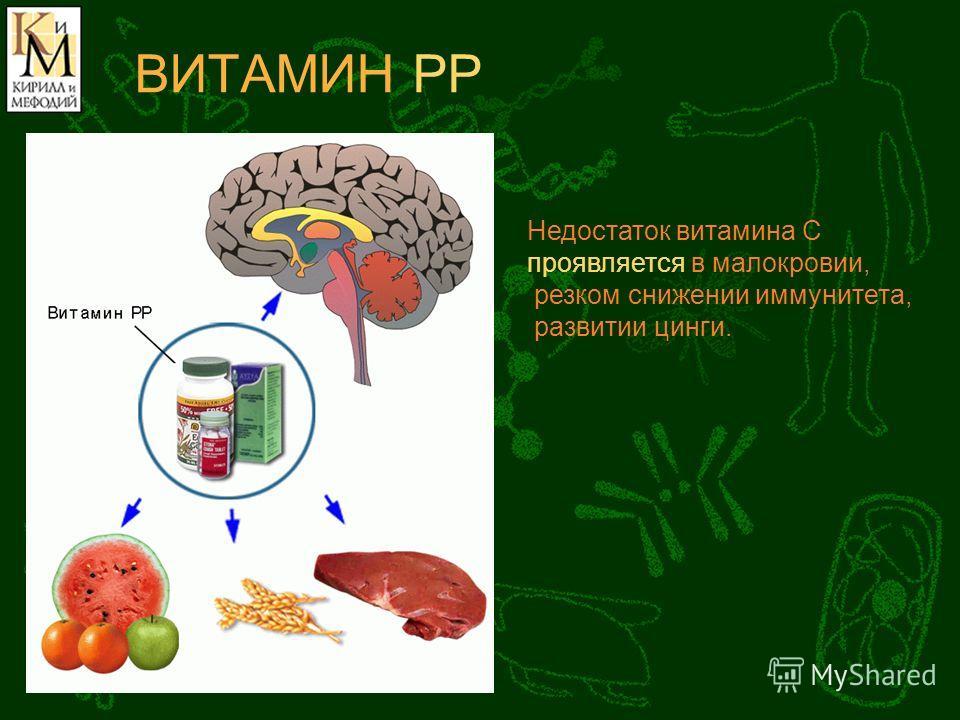 ВИТАМИН РР Недостаток витамина С проявляется в малокровии, резком снижении иммунитета, развитии цинги.
