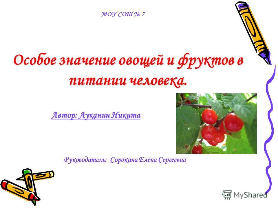 Особое значение овощей и фруктов в питании человека. Автор: Луканин Никита МОУ СОШ 7 Руководитель: Сорокина Елена Сергеевна