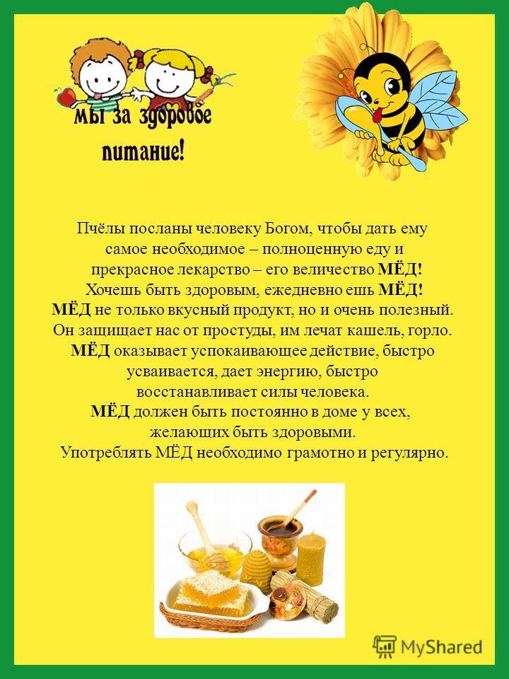 Пчёлы посланы человеку Богом, чтобы дать ему самое необходимое – полноценную еду и прекрасное лекарство – его величество МЁД! Хочешь быть здоровым, ежедневно ешь МЁД! МЁД не только вкусный продукт, но и очень полезный. Он защищает нас от простуды, им