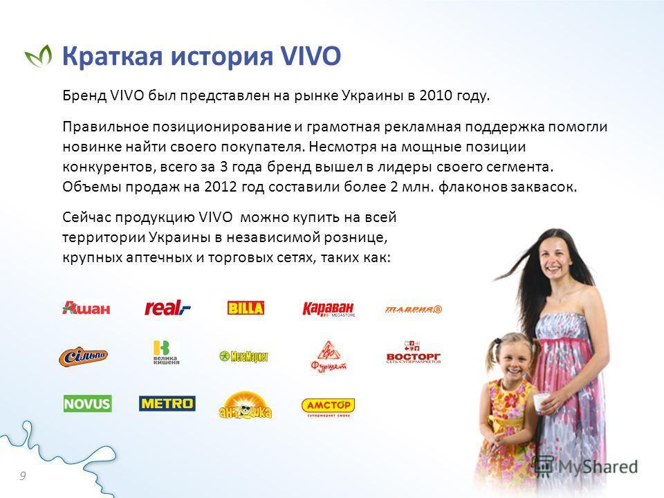 Бренд VIVO был представлен на рынке Украины в 2010 году. Правильное позиционирование и грамотная рекламная поддержка помогли новинке найти своего покупателя. Несмотря на мощные позиции конкурентов, всего за 3 года бренд вышел в лидеры своего сегмента