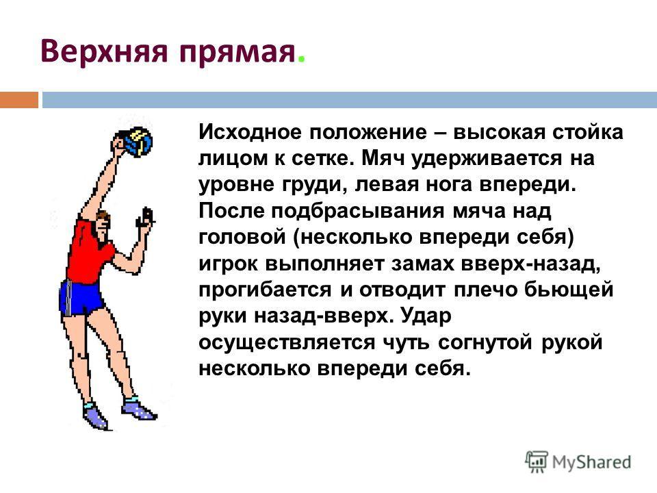 Верхняя прямая. Исходное положение – высокая стойка лицом к сетке. Мяч удерживается на уровне груди, левая нога впереди. После подбрасывания мяча над головой (несколько впереди себя) игрок выполняет замах вверх-назад, прогибается и отводит плечо бьющ
