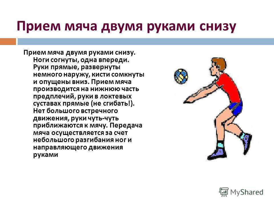 Прием мяча двумя руками снизу Прием мяча двумя руками снизу. Ноги согнуты, одна впереди. Руки прямые, развернуты немного наружу, кисти сомкнуты и опущены вниз. Прием мяча производится на нижнюю часть предплечий, руки в локтевых суставах прямые ( не с