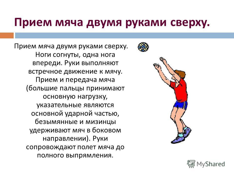 Прием мяча двумя руками сверху. Прием мяча двумя руками сверху. Ноги согнуты, одна нога впереди. Руки выполняют встречное движение к мячу. Прием и передача мяча ( большие пальцы принимают основную нагрузку, указательные являются основной ударной част