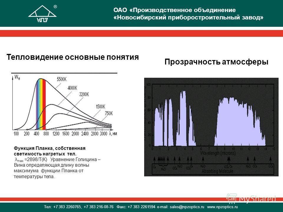 Тепловидение основные понятия Прозрачность атмосферы Функция Планка, собственная светимость нагретых тел. λ max =2898/Т(К) Уравнение Голицина – Вина определяющая длину волны максимума функции Планка от температуры тела. ОАО «Производственное объедине