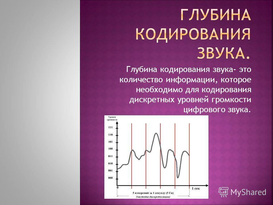 Глубина кодирования звука- это количество информации, которое необходимо для кодирования дискретных уровней громкости цифрового звука.