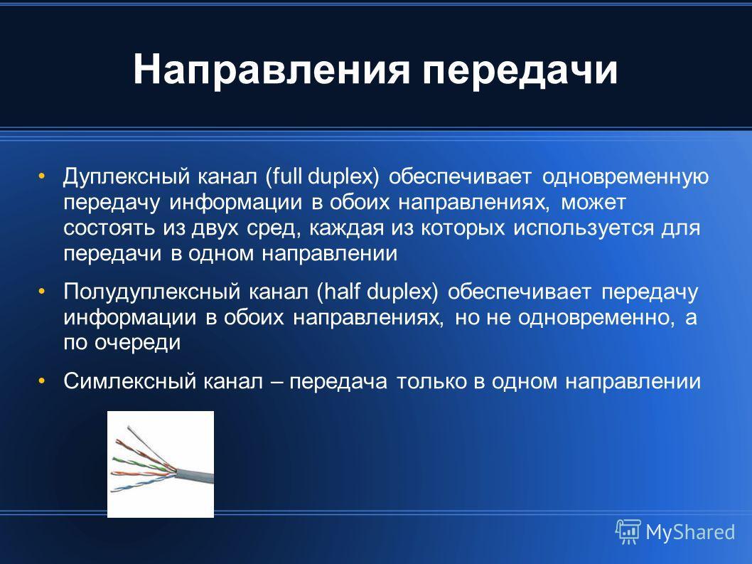 Направления передачи Дуплексный канал (full duplex) обеспечивает одновременную передачу информации в обоих направлениях, может состоять из двух сред, каждая из которых используется для передачи в одном направлении Полудуплексный канал (half duplex) о