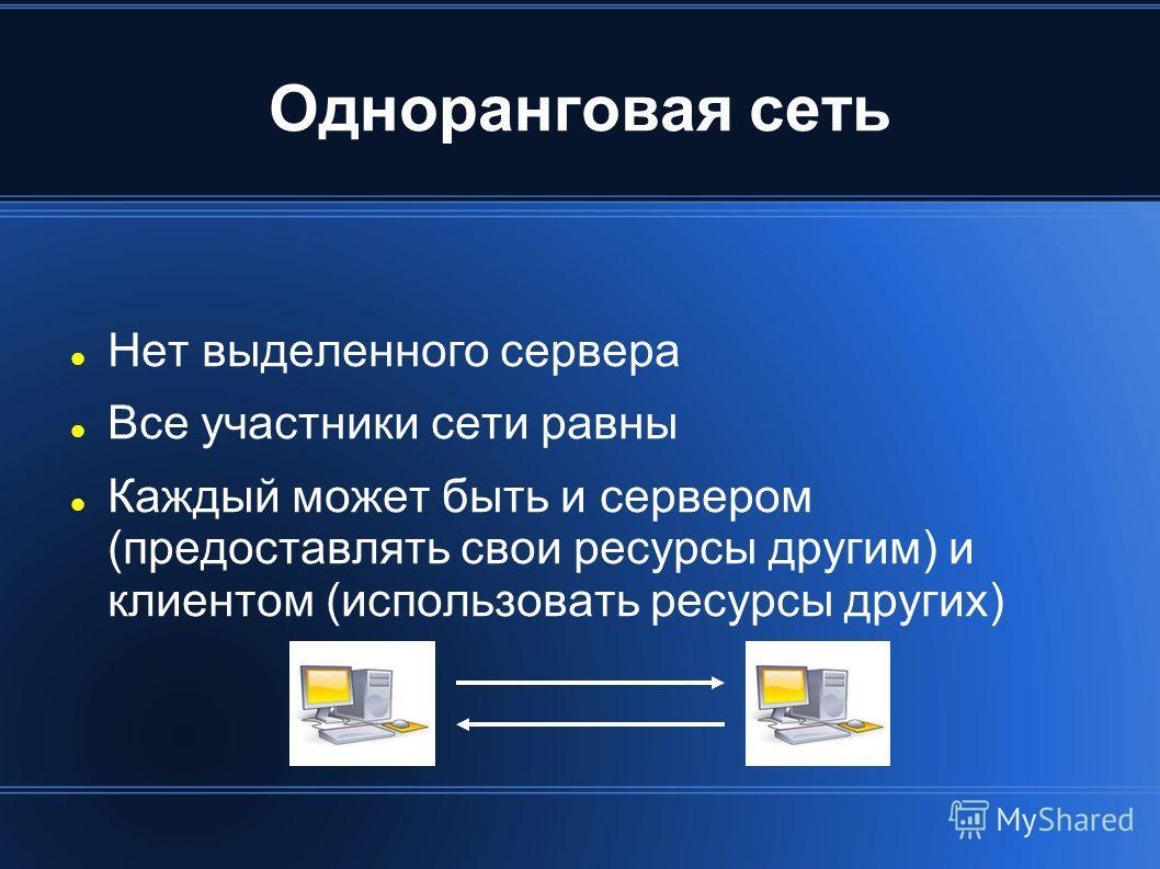 Одноранговая сеть Нет выделенного сервера Все участники сети равны Каждый может быть и сервером (предоставлять свои ресурсы другим) и клиентом (использовать ресурсы других)