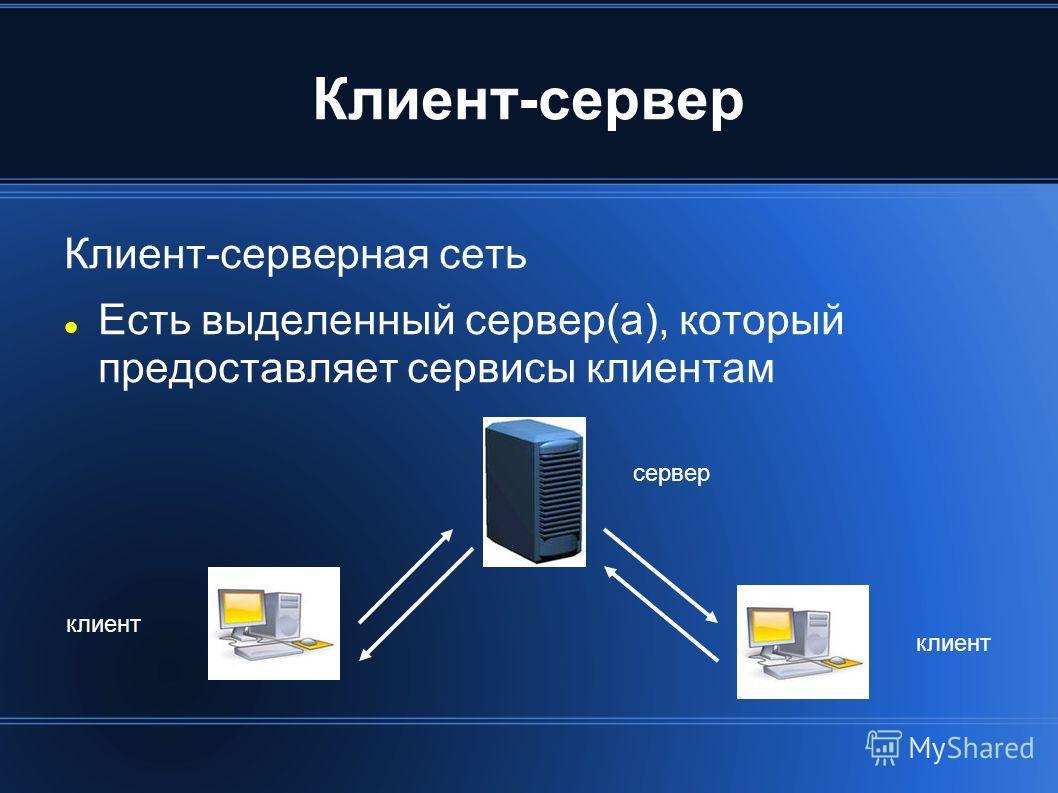 Клиент-сервер Клиент-серверная сеть Есть выделенный сервер(а), который предоставляет сервисы клиентам сервер клиент