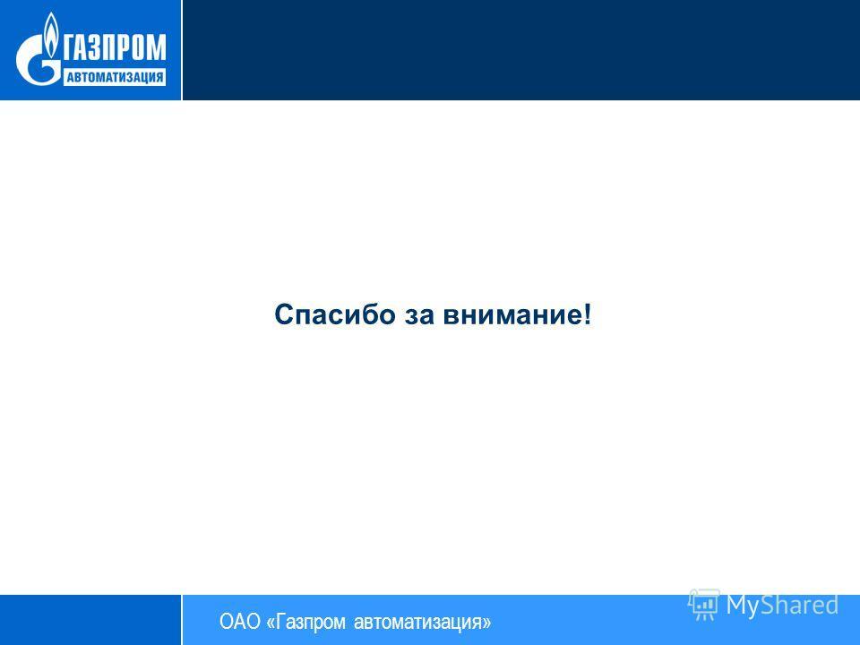 Спасибо за внимание! ОАО «Газпром автоматизация»