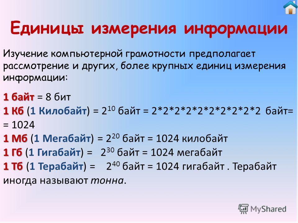 Единицы измерения информации Изучение компьютерной грамотности предполагает рассмотрение и других, более крупных единиц измерения информации: 1 байт 1 байт = 8 бит 1 Кб 1 Кб (1 Килобайт) = 2 10 байт = 2*2*2*2*2*2*2*2*2*2 байт= = 1024 1 Мб 1 Мб (1 Мег