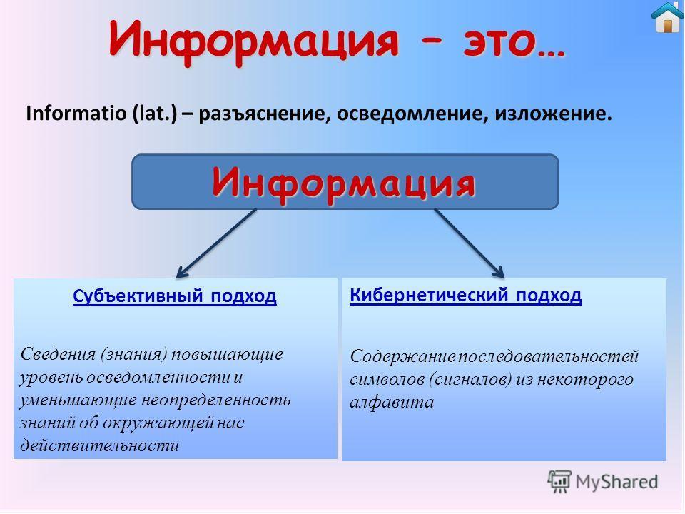 Информация – это… Informatio (lat.) – разъяснение, осведомление, изложение. Субъективный подход Сведения (знания) повышающие уровень осведомленности и уменьшающие неопределенность знаний об окружающей нас действительности Кибернетический подход Содер