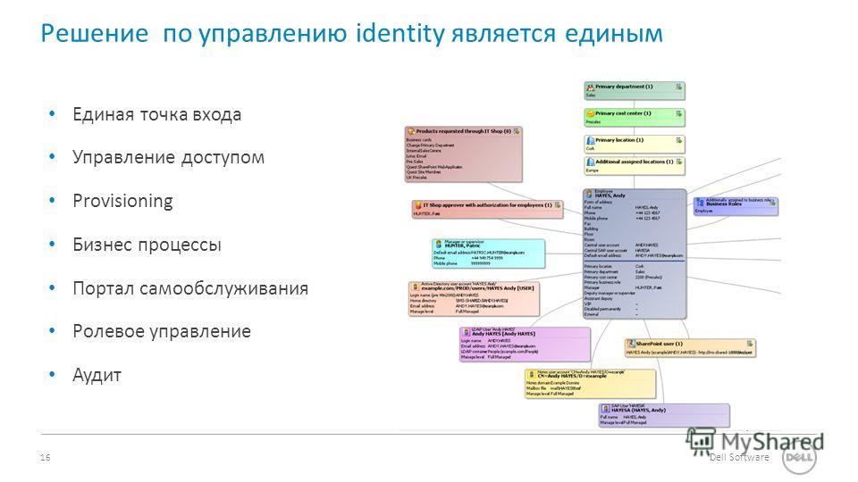 16 Dell Software Единая точка входа Управление доступом Provisioning Бизнес процессы Портал самообслуживания Ролевое управление Аудит Решение по управлению identity является единым