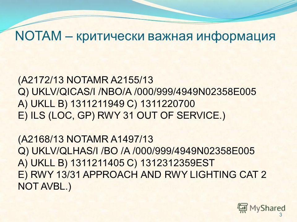 NOTAM – критически важная информация (A2172/13 NOTAMR A2155/13 Q) UKLV/QICAS/I /NBO/A /000/999/4949N02358E005 A) UKLL B) 1311211949 C) 1311220700 E) ILS (LOC, GP) RWY 31 OUT OF SERVICE.) (A2168/13 NOTAMR A1497/13 Q) UKLV/QLHAS/I /BO /A /000/999/4949N