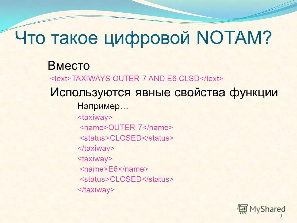 Что такое цифровой NOTAM? Вместо TAXIWAYS OUTER 7 AND E6 CLSD Используются явные свойства функции Например… OUTER 7 CLOSED E6 CLOSED 9