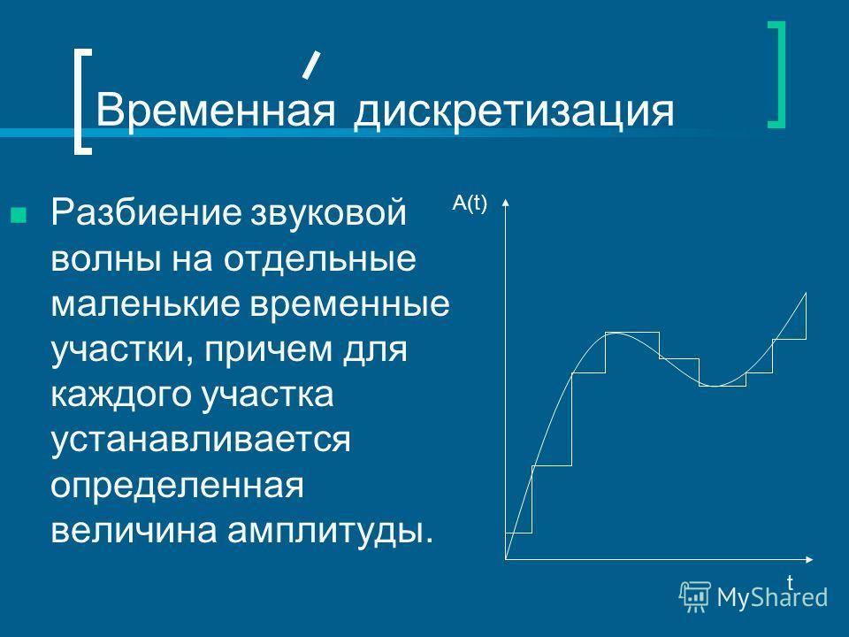 Временная дискретизация Разбиение звуковой волны на отдельные маленькие временные участки, причем для каждого участка устанавливается определенная величина амплитуды. А(t) t