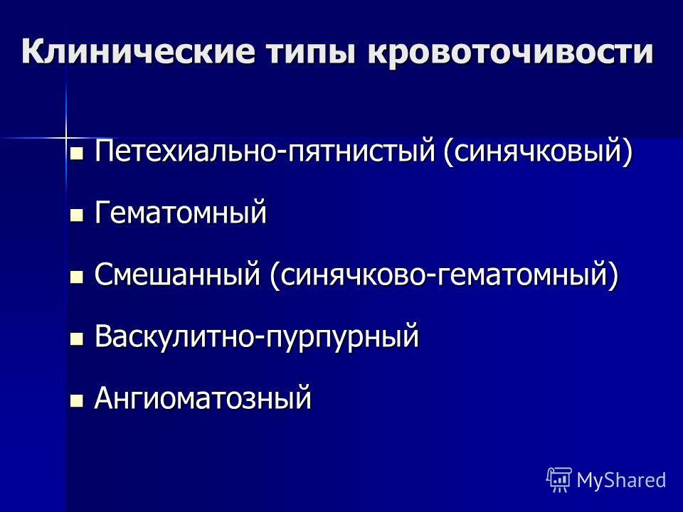 Клинические типы кровоточивости Петехиально-пятнистый (синячковый) Петехиально-пятнистый (синячковый) Гематомный Гематомный Смешанный (синячков-гематомный) Смешанный (синячков-гематомный) Васкулитно-пурпурный Васкулитно-пурпурный Ангиоматозный Ангиом