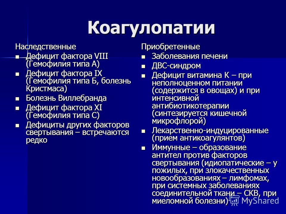 Коагулопатии Наследственные Дефицит фактора VIII (Гемофилия типа А) Дефицит фактора VIII (Гемофилия типа А) Дефицит фактора IХ (Гемофилия типа Б, болезнь Кристмаса) Дефицит фактора IХ (Гемофилия типа Б, болезнь Кристмаса) Болезнь Виллебранда Болезнь