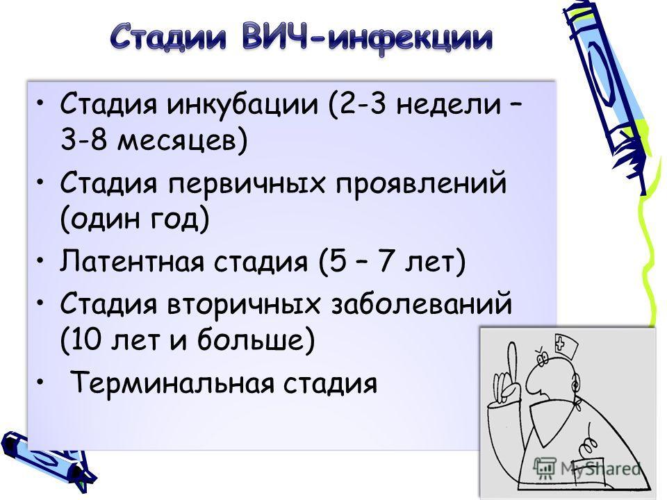 Стадия инкубации (2-3 недели – 3-8 месяцев) Стадия первичных проявлений (один год) Латентная стадия (5 – 7 лет) Стадия вторичных заболеваний (10 лет и больше) Терминальная стадия