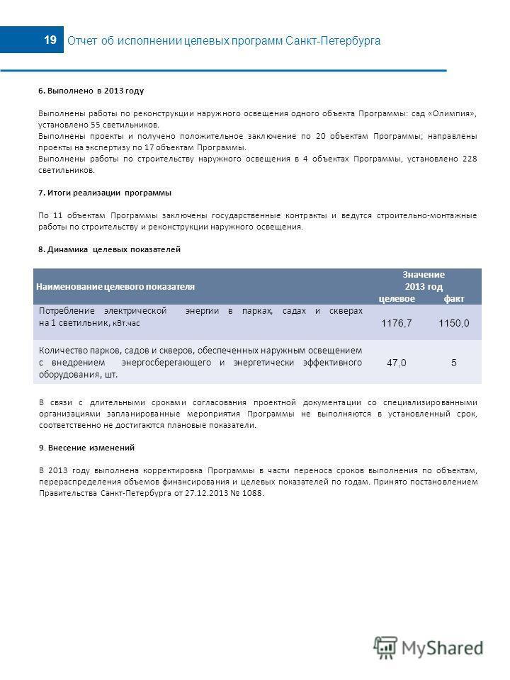 5 19 Отчет об исполнении целевых программ Санкт-Петербурга Наименование целевого показателя Значение 2013 год целевоефакт Потребление электрической энергии в парках, садах и скверах на 1 светильник, к Вт.час 1176,71150,0 Количество парков, садов и ск